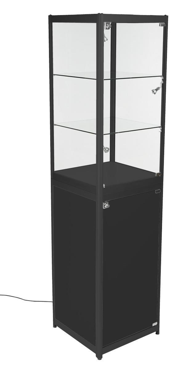 Glass Display Tower With Enclosed