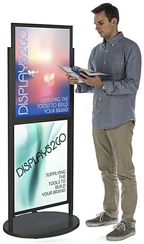Black Dual 22 x 28 Mobile Poster Display with Powder Coat Finish