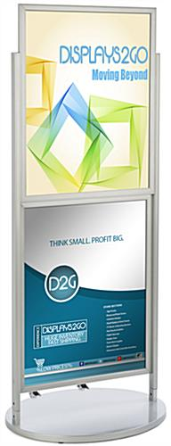 Silver Dual 22 x 28 Mobile Poster Display w/ Wheels