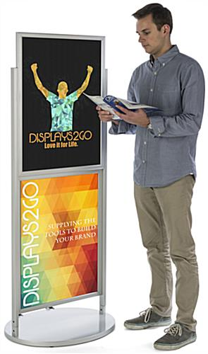 Silver Dual 22 x 28 Mobile Poster Display with Poster Inserts
