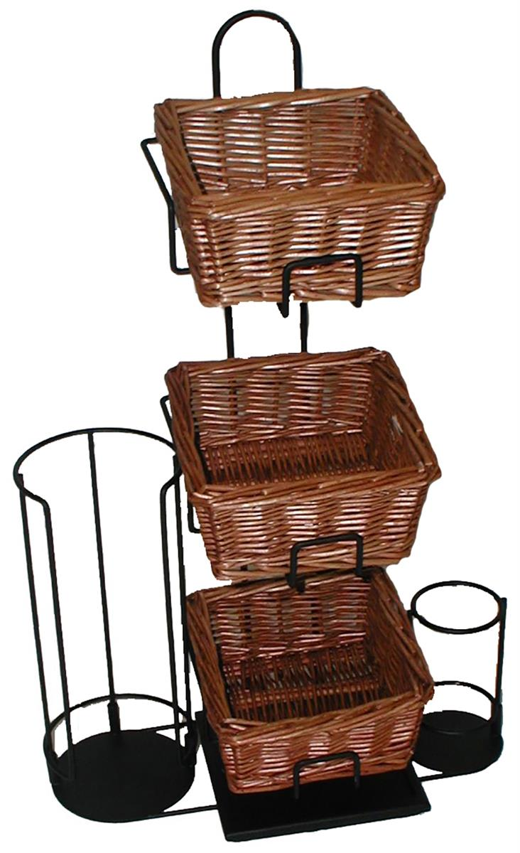 Basket Condiment Organizer 3 Tiered Removable Display