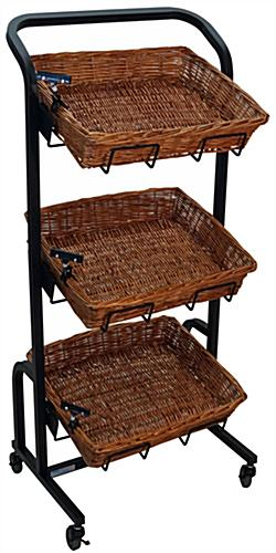 3 Tier Wicker Basket Stand for Produce Sections