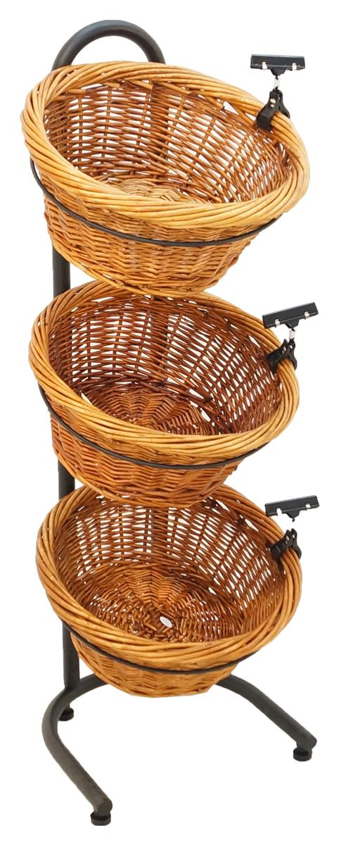 3 Tier Basket Stand Wicker W Sign Clips