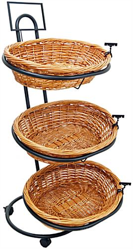 Rolling Wicker Basket Stand with Sign Holder