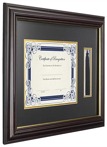 "11"" x 8.5"" Tassel and Diploma Frame with Brown Boarder"