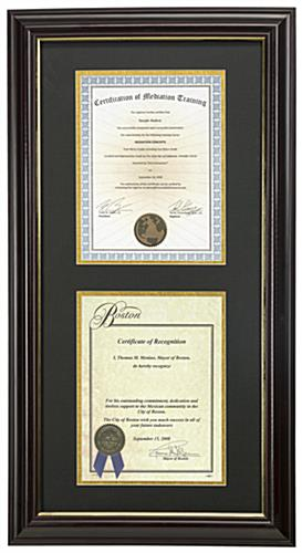 Dual Vertical Diploma Frame Mounting Vertically or Horizontally
