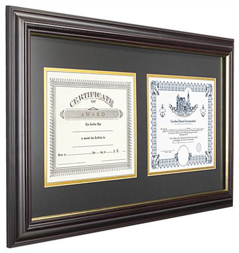 dual vertical diploma frame holds 2 diplomas