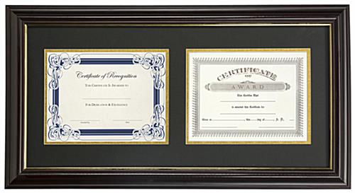 "Dual Vertical Diploma Frame | (2) 8.5"" x 11"" Certificates"