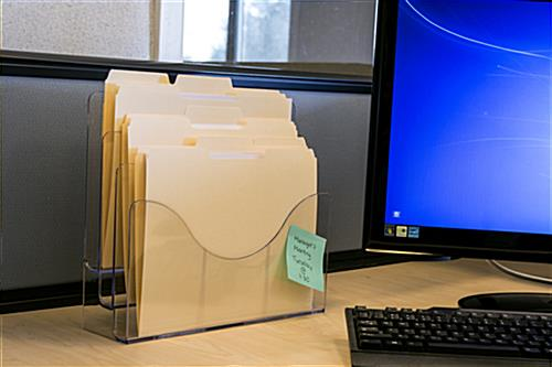 Plastic Wall File Organizer with 3 Built In Pockets, Mountable; Hardware Included