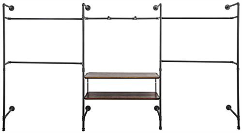 Pipe Outrigger Retail Wall System with 5 Clothing Hanging Bars