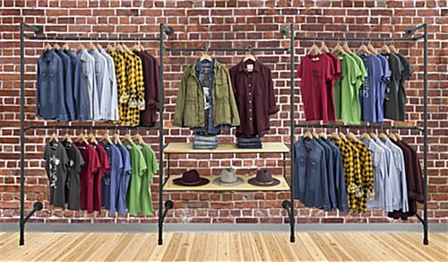 Pipe Wall Mounted Outrigger System Showcasing Apparel in a Retail Store