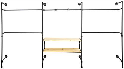 Pipe Wall Mounted Outrigger System with 4 Regular Clothing Hanging Bars