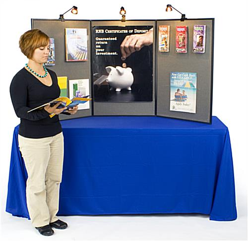 exhibition displays include 3 halogen spotlights for bright showcases - Tri Fold Display Board