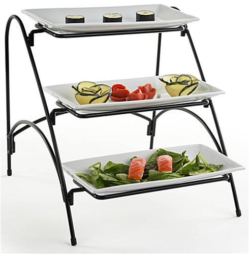 3 Tier Buffet Stand Porcelain Dishes With Wire Rack