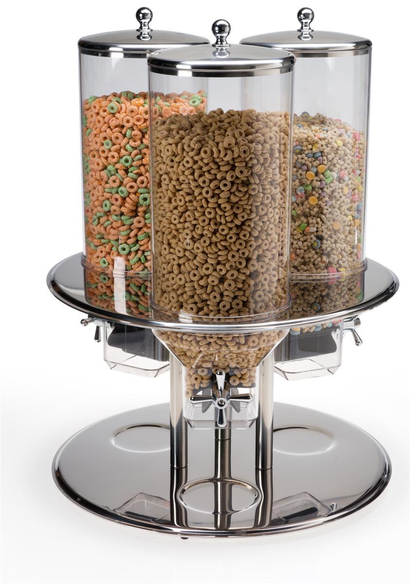 Displays2go Triple Food Dispenser, 2.6 Gallons Each, Port...
