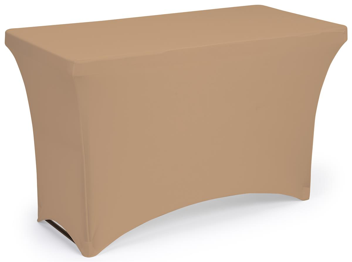 Tan stretch table cloth with fitted design