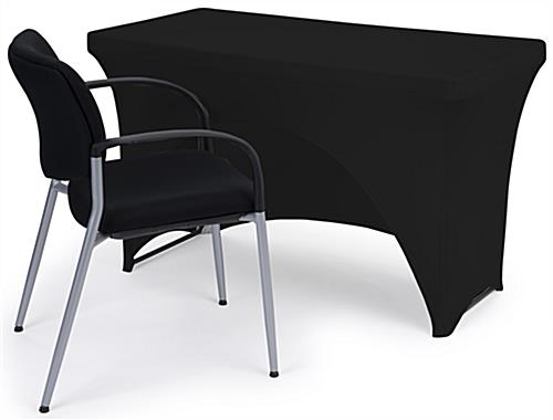 Black stretch table cloth with fire retardant polyester