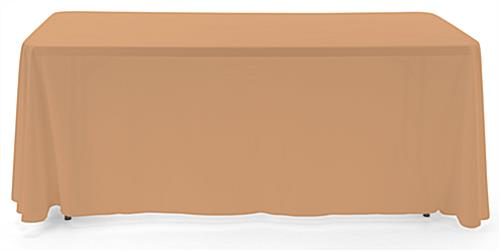 Beige 3-sided event table cloth with rounded top corners to prevent bunching