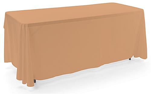 Beige 3-sided event table cloth in machine washable fabric