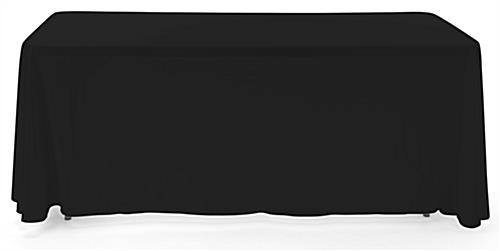 Black 3-sided event table cloth with rounded top corners to prevent bunching
