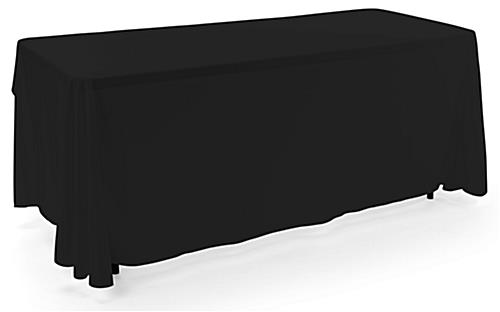 Black 3-sided event table cloth in machine washable fabric