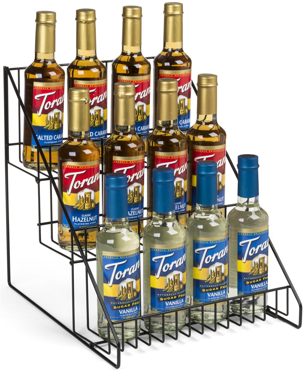 3 Tier Wire Countertop Rack Angled Open Space Shelves