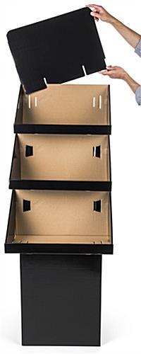 3 Tier Cardboard Bin Display Black Finish