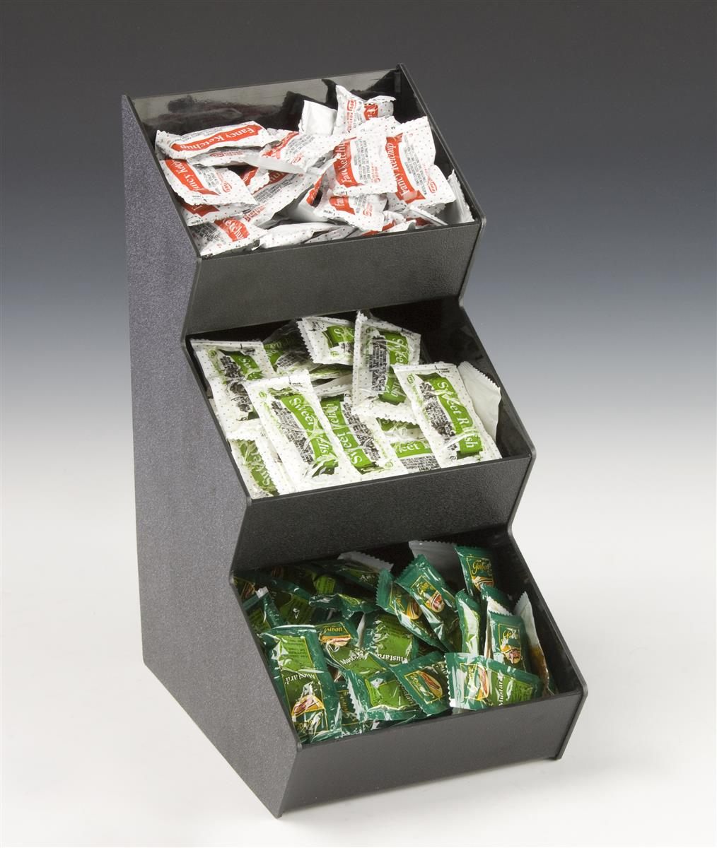 Displays2go Tiered Condiment Organizer, 3 Compartments - ...