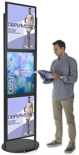 Black Triple 22 x 28 Mobile Graphic Stand, Glossy Finish