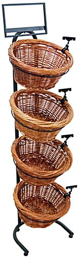 Tiered Wicker Tray Stand with Price Tag Holder Clips