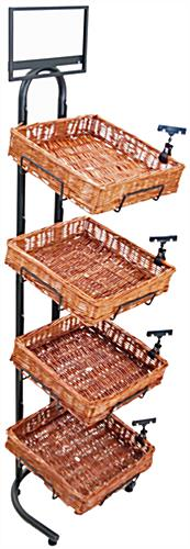 Wicker Basket Display Stand with Sign Solution Clips