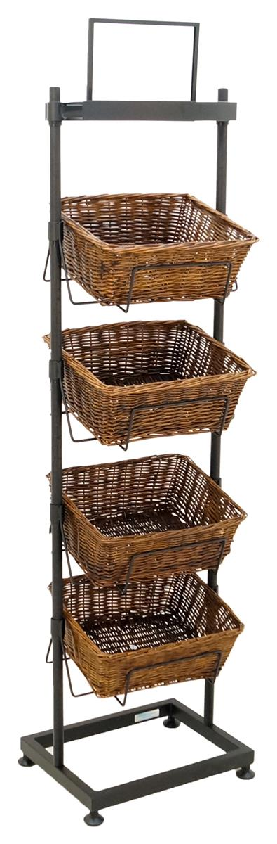 4 Tier Basket Stand Wicker Containers W Sign Holder