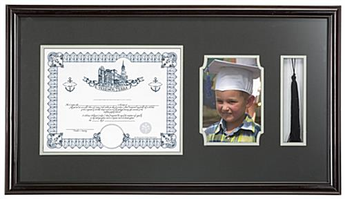 high school diploma and tassel frame holds a certificate photo