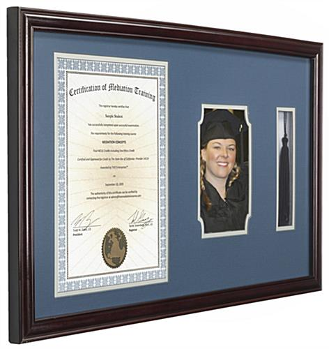 college diploma and tassel frame with brown boarder