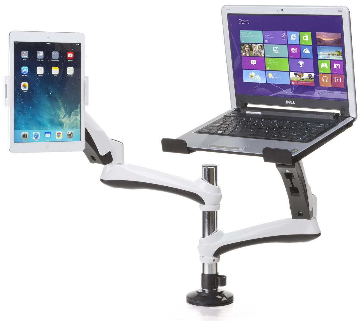 Articulated Computer Stand : Monitor arm with laptop stand multi use media bracket