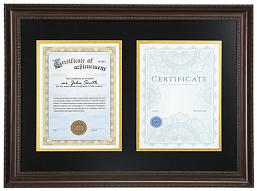 dual diploma frame holds two certificates dual diploma frame is wall mounting only