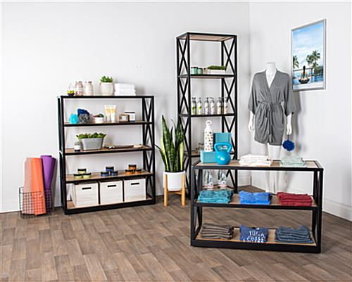 Natural industrial rustic 5-tier shelving unit