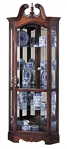 Cherry Corner Curio Cabinet | Beveled Glass & Interior Lighting