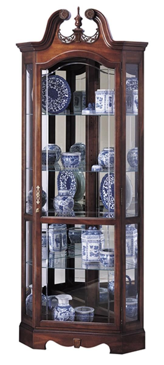 cherry corner curio cabinet beveled glass interior lighting. Black Bedroom Furniture Sets. Home Design Ideas