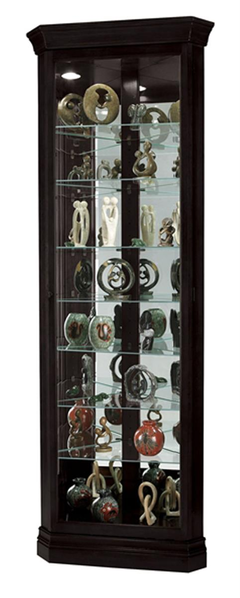black corner curio cabinet top lighting glass shelves mirror back. Black Bedroom Furniture Sets. Home Design Ideas