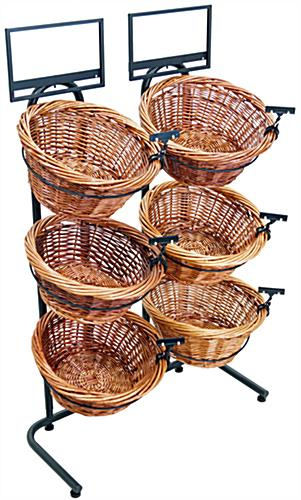 Steel Framed Tiered Wicker Basket Stand