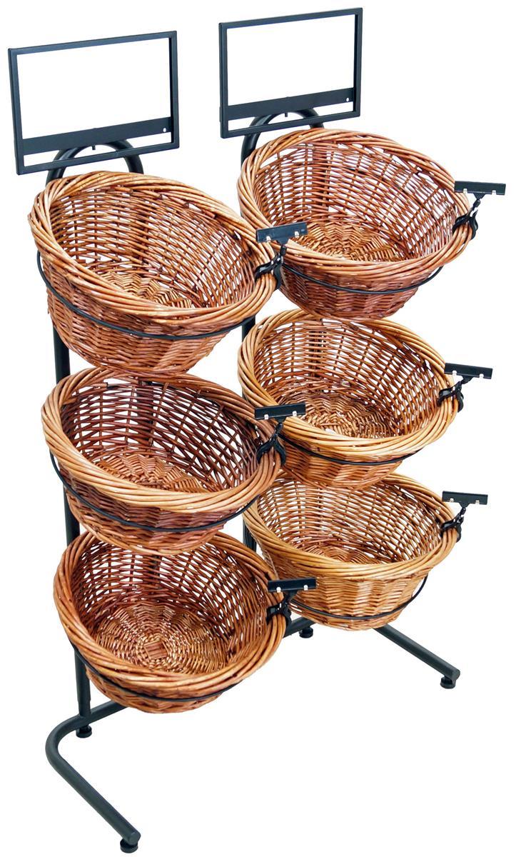 Tiered Wicker Basket Stand 6 Round Bins
