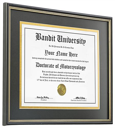 "Double Matted Diploma Frame for 8.5"" x 11"" Certificates"