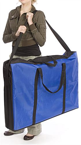 Our portable display wall panels come with a handy carrying bag