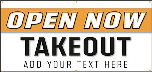 Open for take out banner sign with 6 metal hanging grommets