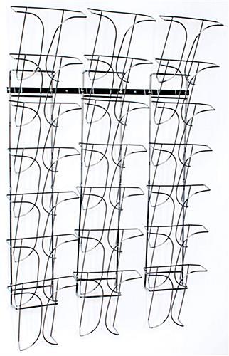 7 Tier 21 Pocket Metal Wall Magazine Rack Chrome Finish