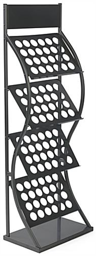 Curved Portable Literature Rack 4 Double Wide Magazine Tiers