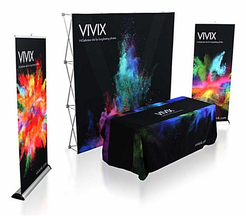 10' trade show backdrop package with coordinating custom printed graphics.