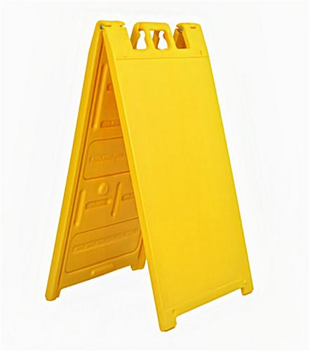 Double sided outdoor a-frame sign stand in yellow