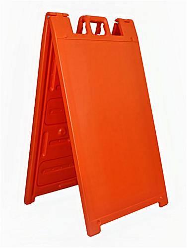 Double sided outdoor a-frame sign stand in orange